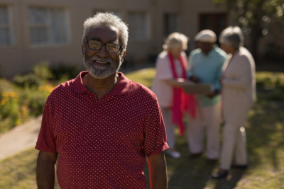 senior man smiling outdoor